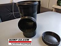 Ревизия с сеткой 110мм для водосточной трубы с крыши Черная, фото 1