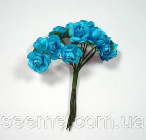 Комплект бумажных розочек, 10 шт, цвет голубой