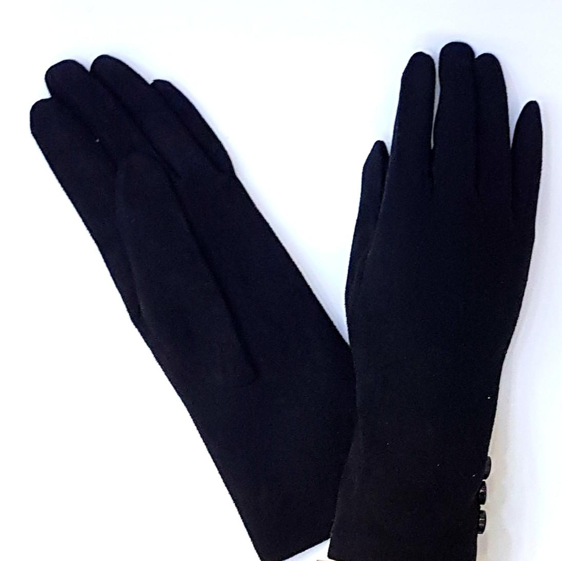 Перчатки имитация замш, черный р.8,5
