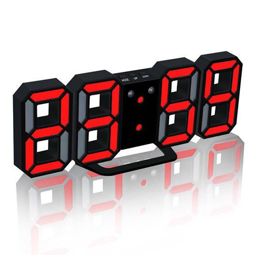 Часы настенные / настольные электронные черный+красный (Пластик, LED) + Адаптер сетевой