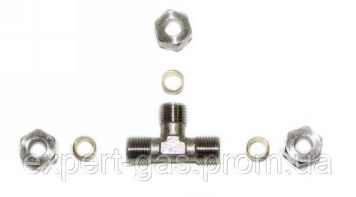 Тройник Т-образный для трубки D8 (пропан) +гайка+нипель