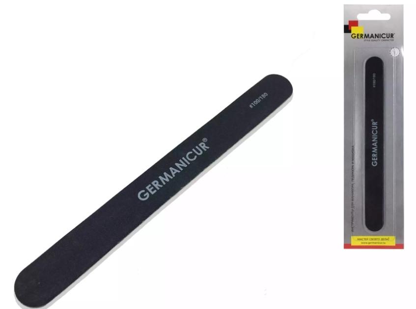 Germanicur Пилка-наждак GM-1101 (100/180) пряма чорна для нігтів