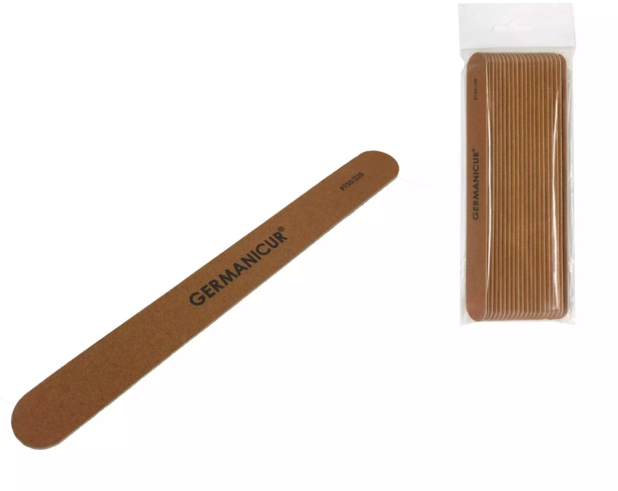 Germanicur Пилка-наждак GM-1806-WOOD (150/220) на деревянной основе прямая коричнева для ногтей
