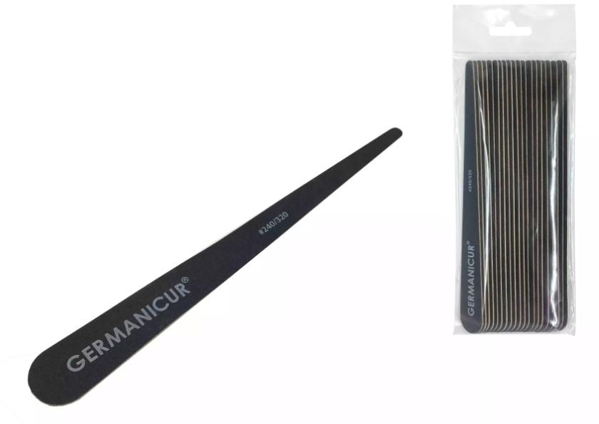 Germanicur Пилка-наждак GM-1832 WOOD (240/320) на деревянной основе конусна черная для ногтей