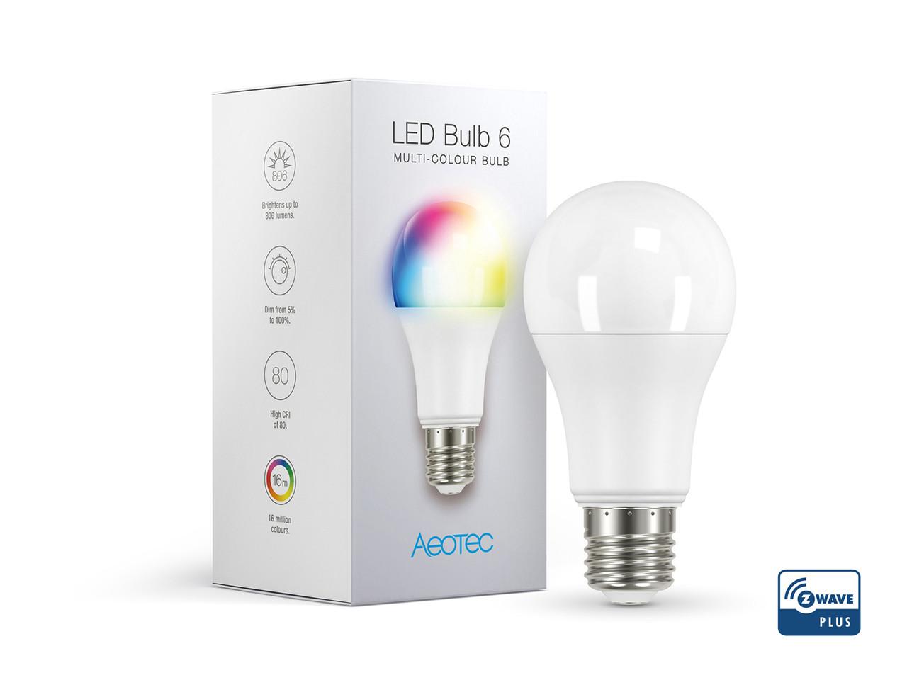Светодиодная лампа RGBW AEOTEC LED Bulb 6 Multi-Color (E27) — AEOEZWA002