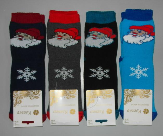 Носки женские махра новогодние 1 пара 36-40 раз Дед мороз зимние