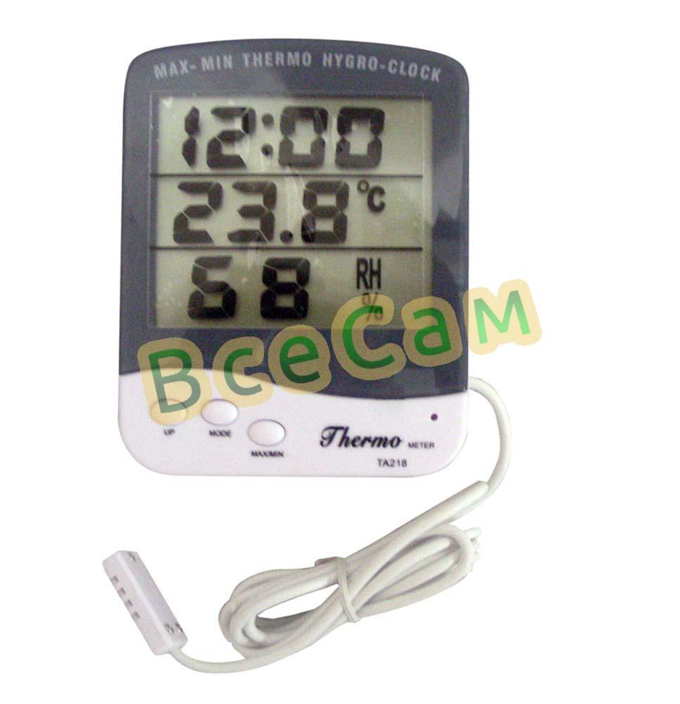 Влагомер (гигрометр), термометр, часы MAX-MIN TA218 для инкубатора с выносным датчиком 1,5 м