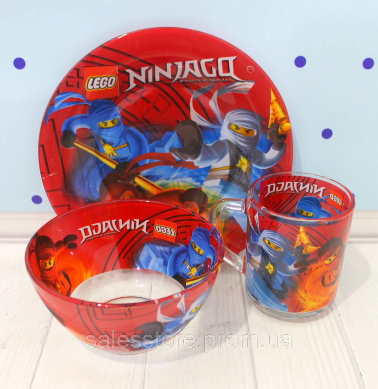 Набор детской стеклянной посуды из трех предметов 3в1 Лего Ниндзяго LEGO Ninjago