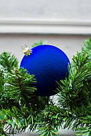 Шар 8 см Бархат Синий, шары на елку