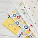 Ткань поплин Бэйби желто-голубой с красными звездами на белом (ТУРЦИЯ шир. 2,4 м) №34-105, фото 7