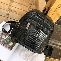 Лаковый рюкзак Reptile черный