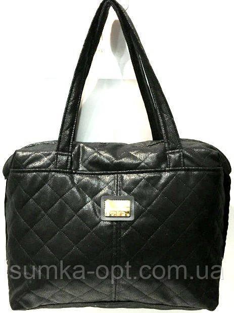 Стеганные женские сумки (черный глянцевый стеганный)27*36см