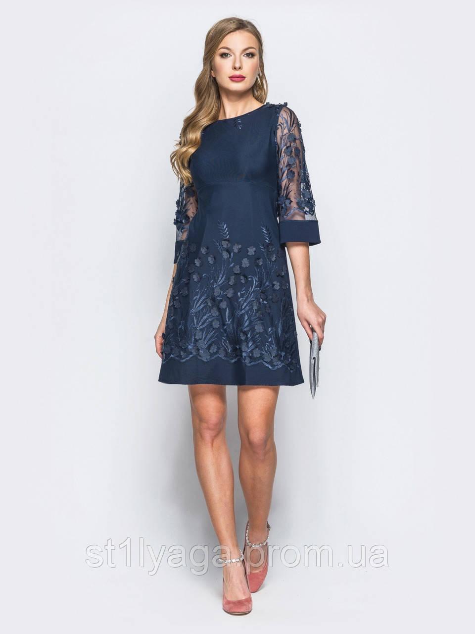 7a31f2179c0bf28 Коктейльное платье А-силуэта с оригинальной цветочной аппликацией ...