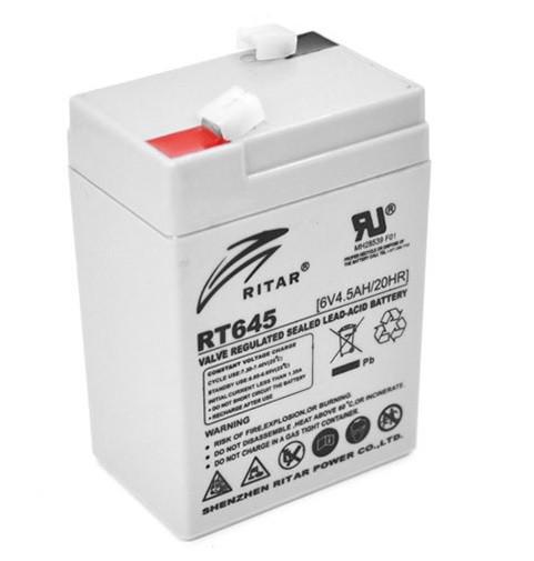 Аккумуляторная батарея AGM RITAR RT645, Gray Case, 6V 4.5Ah ( 70х47х99 (105) ) Q20