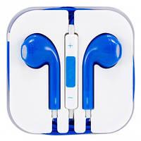 Наушники-гарнитура для телефона с микрофоном EarPods, цвет - синий, с доставкой по Киеву и Украине