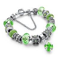 Браслет Pandora Пандора Шарм (реплика), цвет зелёный