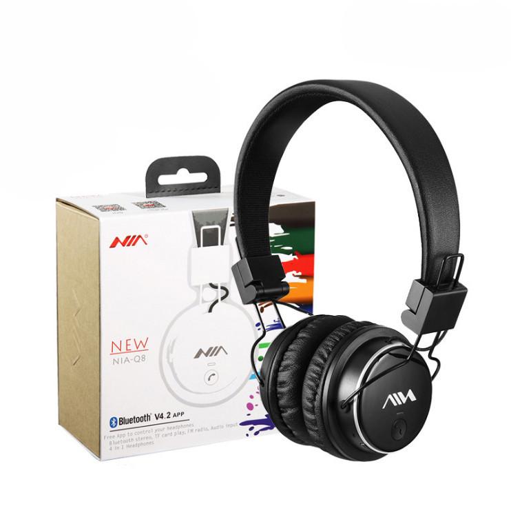 Беспроводные Bluetooth стерео наушники NIA Q8 оригинал с МР3 плеером и AUX