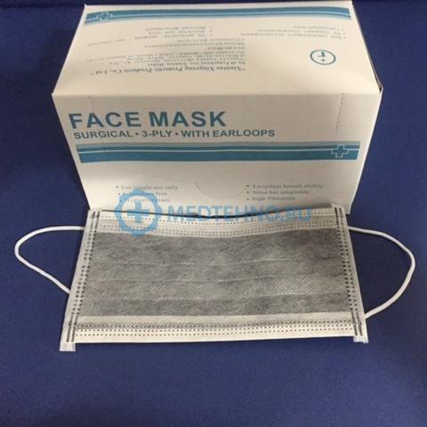 Процедурная маска с угольным фильтром на резинке 1 шт. в инд. Упаковке