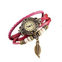 Винтажные женские часы - браслет на кожаном ремешке Розовый