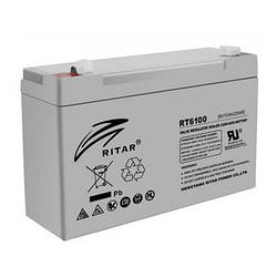 Аккумуляторная батарея AGM RITAR RT6100, Gray Case, 6V 10Ah ( 150 х 50 х 93 (99) ) Q20