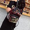 Рюкзак женский сумка мишка с пайетками Красный, фото 2
