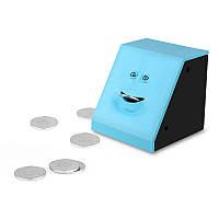 Копилка жующая монеты Face Bank с лицом - голубая
