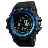 Skmei 1358 processor  синие мужские часы  с шагомером и барометром