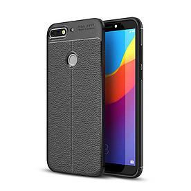 Чехол накладка для Huawei Y7 Prime 2018 LDN-L21 силиконовый, Фактура кожи, черный