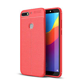 Чехол накладка для Huawei Y7 Prime 2018 LDN-L21 силиконовый, Фактура кожи, красный