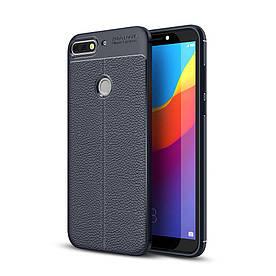 Чехол накладка для Huawei Y7 Prime 2018 LDN-L21 силикон, Фактура кожи, темно-синий