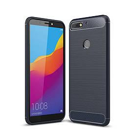 Чехол накладка для Huawei Y7 Prime 2018 LDN-L21 силикон, Carbon Fiber, темно-синий