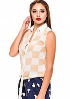 Шифоновая блузка без рукавов в бежевую и белую шахматную клетку (есть размеры)