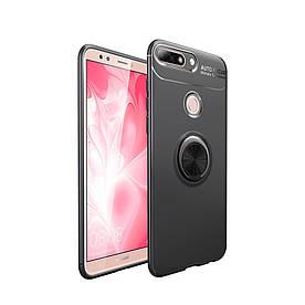 Чехол накладка для Huawei Y7 Prime 2018 LDN-L21 противоударный с магнитным кольцом, черный