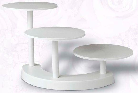 Подставка для торта лестница (белая) 3 яруса(код 00566)