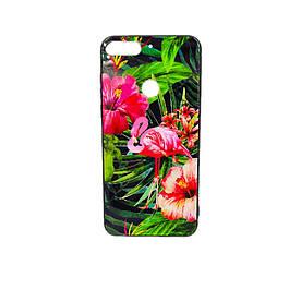 Чехол накладка для Huawei Y7 Prime 2018 LDN-L21 силикон+закаленное стекло, Фламинго