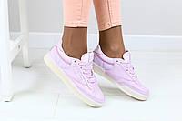 Женские кроссовки, сиреневые, из эко-кожи