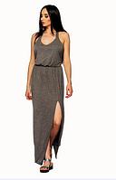 Красивое женское молодежное летнее длинное платье в пол с открытой спиной иразрезом на ноге