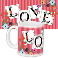 Кружка с принтом Love flowers 330 мл (KR_L032)