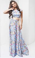 Нарядное красивое шелковое женское платье в пол с коротким рукавом с поясом  +цвета, фото 1