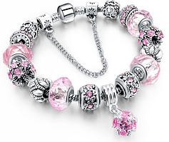 Браслет Pandora Пандора Шарм (реплика) Розовый