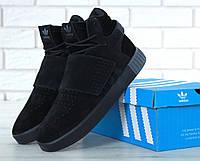 Кроссовки мужские Adidas Tubular замшевые зимние повседневные утепленные на низком ходу (черные), ТОП-реплика, фото 1