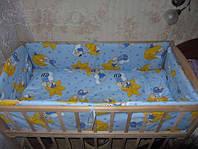 """Защита, мягкие бортики в детскую кроватку """"Мишки на звездочках"""" синий"""