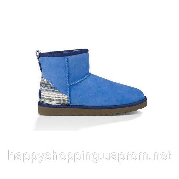 Женские оригинальные зимние синие замшевые сапоги UGG
