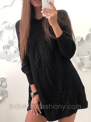 Платье мини вязанное с косами