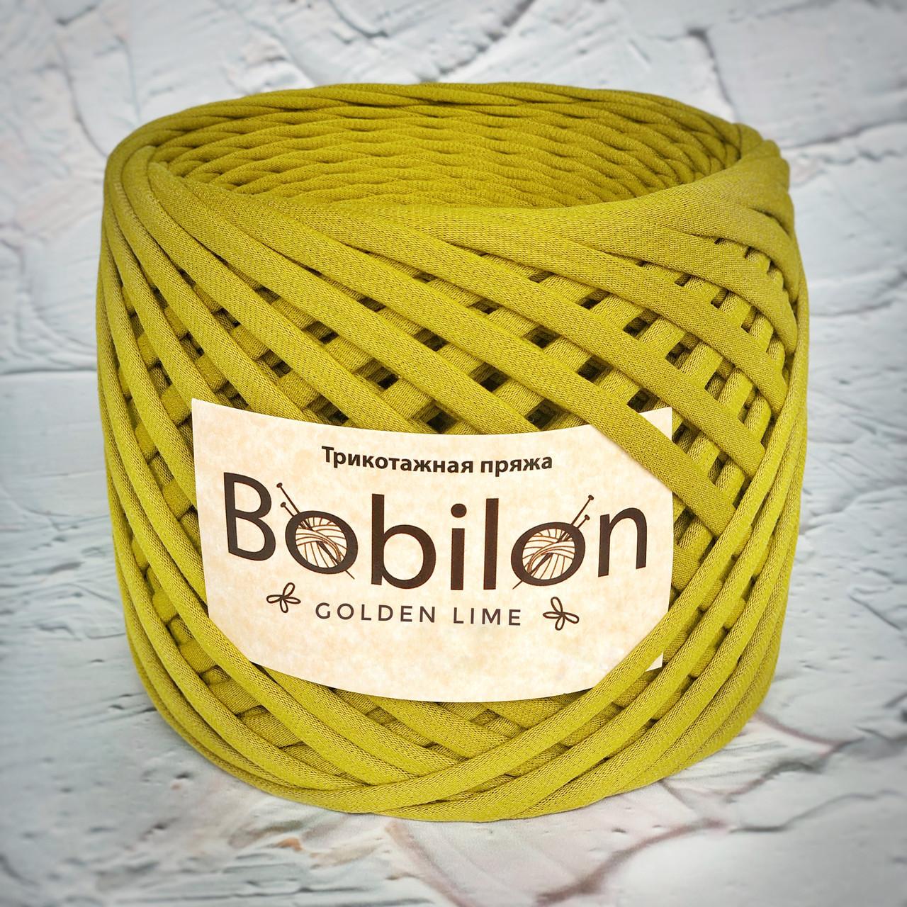 Трикотажная пряжа Bobilon Mini (5-7мм).  Golden Lime