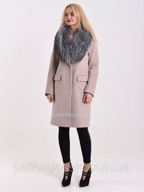 f63f428b3e4 Зимнее женское пальто с натуральным шалевым меховым воротником из  скандинавской чернобурки - Пальто Классик и Serebro