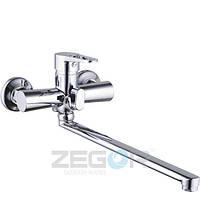 Смеситель для ванны с душем Zegor PUD7 (PUD7-A045) однорычажный с длинным гусаком цвет хром