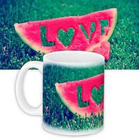 Кружка с принтом Love 330 мл зеленая (KR_15L046)