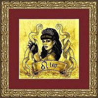 """Картина подарок на золоте знак зодиака """"ЛЕВ"""" женщина"""