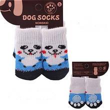 Носки для собак S бело-голубые с мордочкой